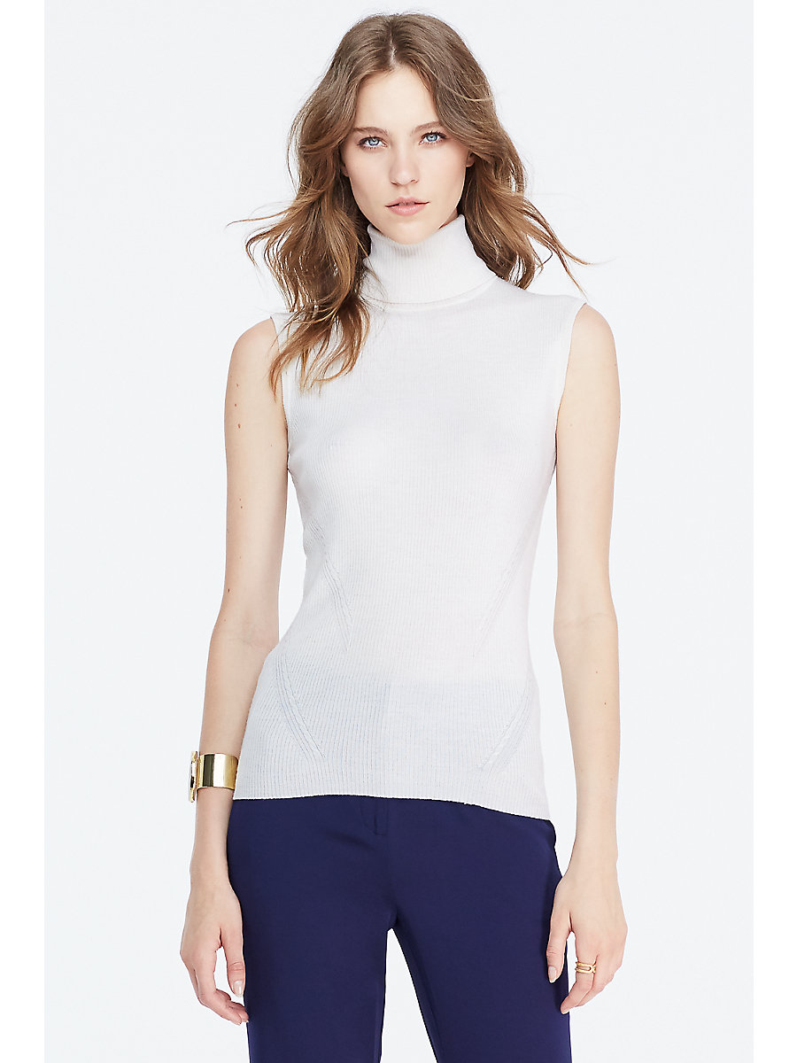 DVF Sutton Sleeveless Turtleneck Sweater in Canvas White by DVF