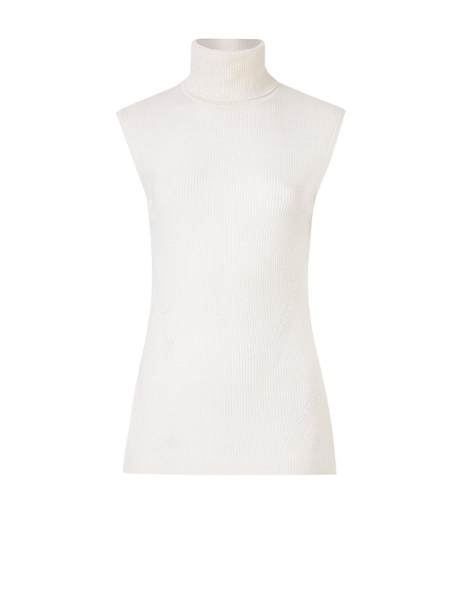 DVF Sutton Sleeveless Turtleneck Sweater in Canvas White by DVF