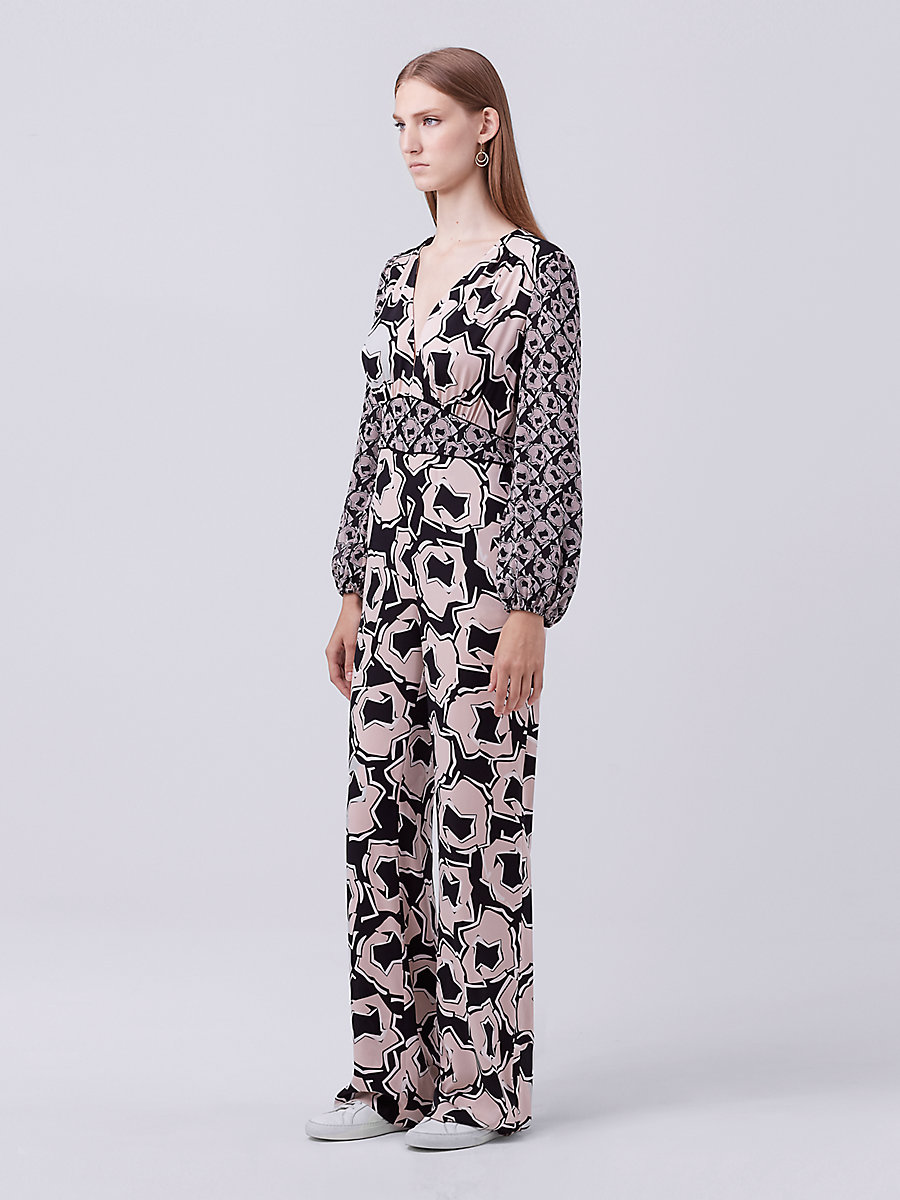 DVF Viona Silk Jumpsuit in Pommeau Petite by DVF