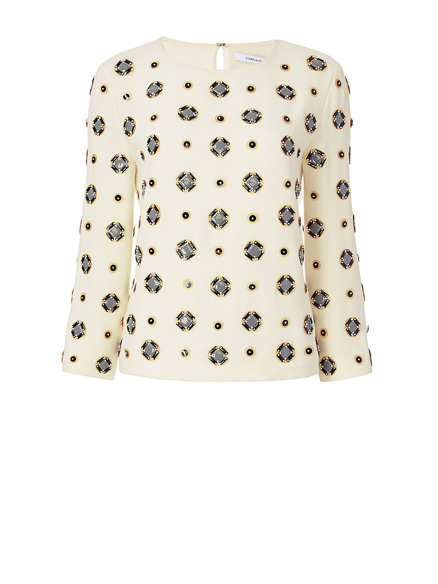 DVF Luna Embellished Top in Canvas White by DVF