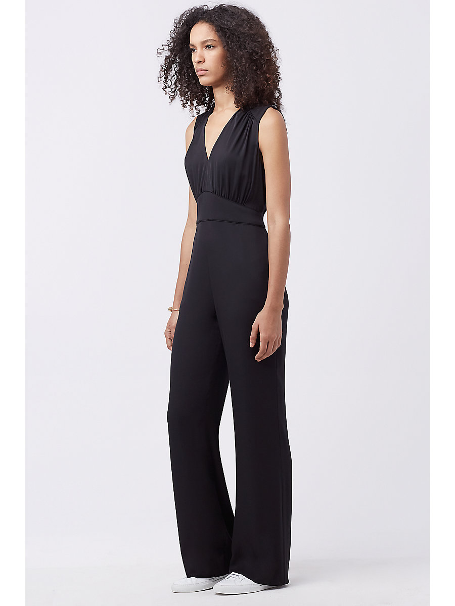DVF VIONA SLEEVELESS SILK JUMPSUIT in Black by DVF
