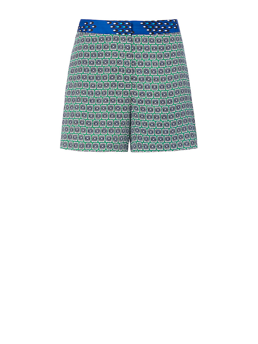 DVF Jerri Printed Short in Square Stamps Green/ Chevron Dots Blue by DVF