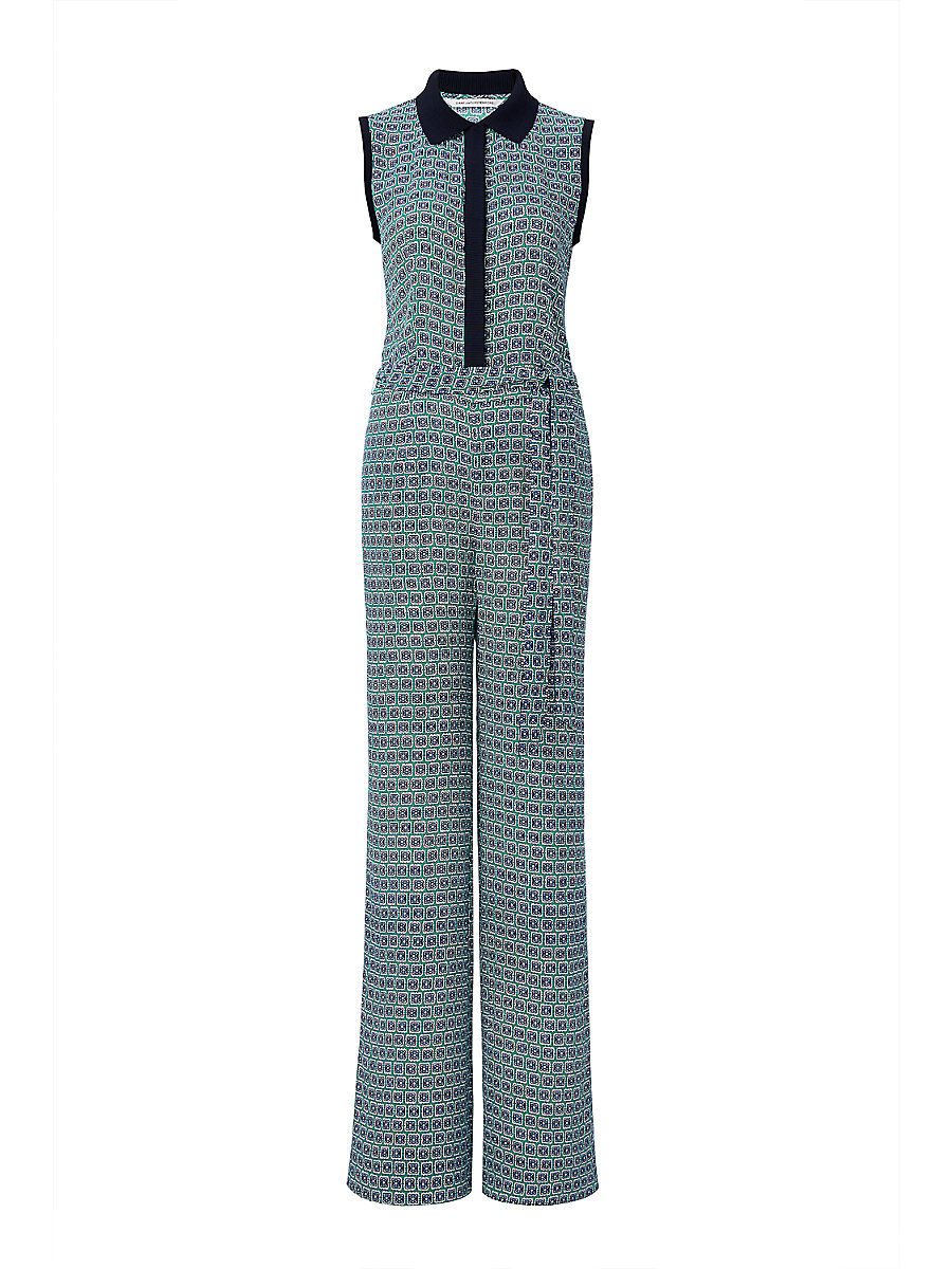 DVF Trista Sleeveless Printed Jumpsuit in Square Stamps Green/ Midnight by DVF