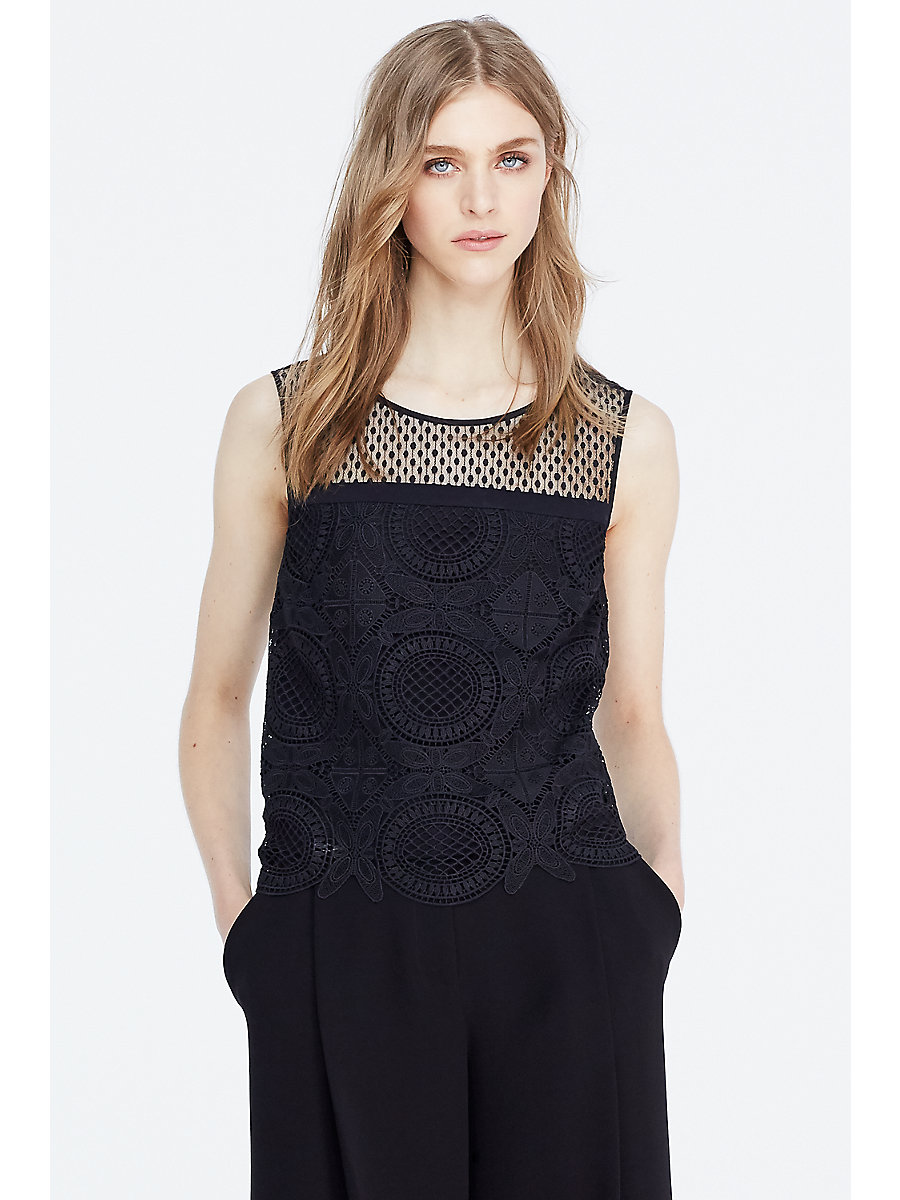 DVF Lila Spiral Lace Crop Top in Black by DVF