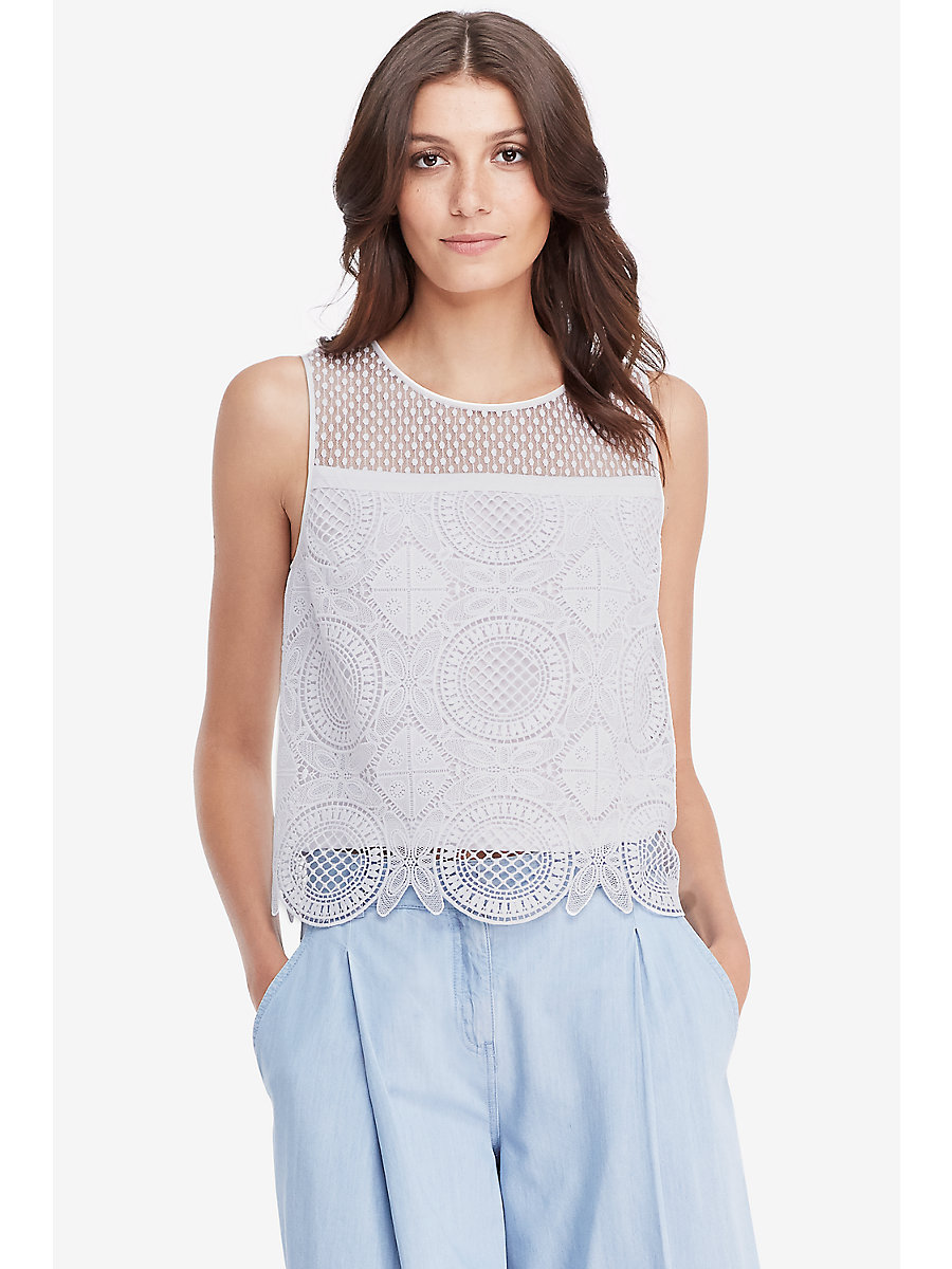 DVF Lila Spiral Lace Crop Top in White by DVF