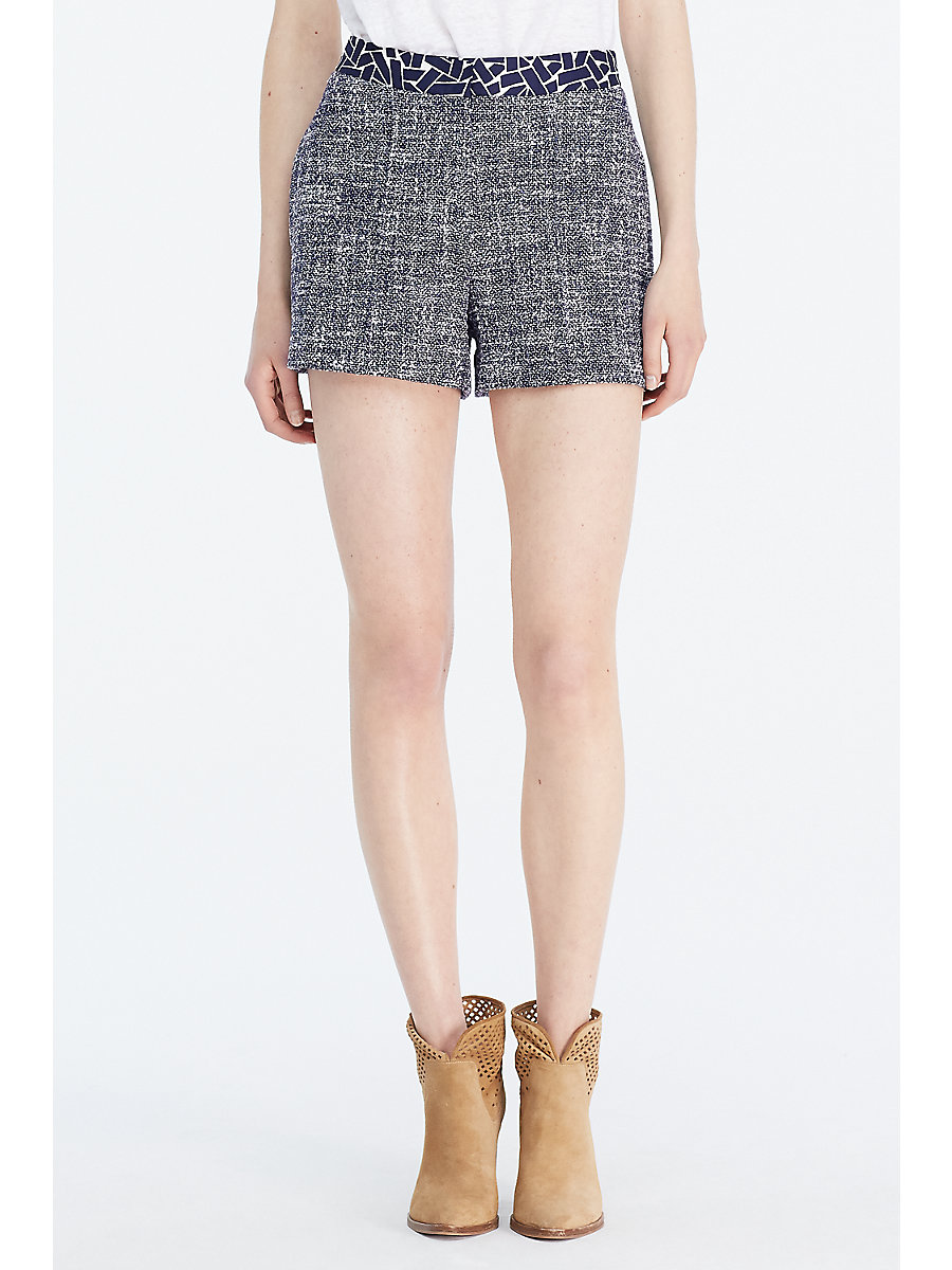 DVF Zali Summer Tweed Short in Midnight/ White/ Ribbon Weave Mini by DVF