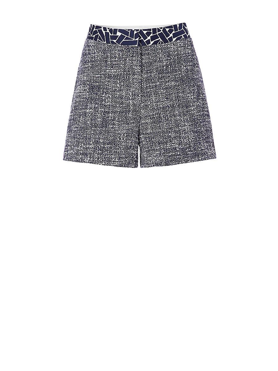 DVF Zali Summer Tweed Short in Midnight/ White/ Ribbon Weave Mini by DVF