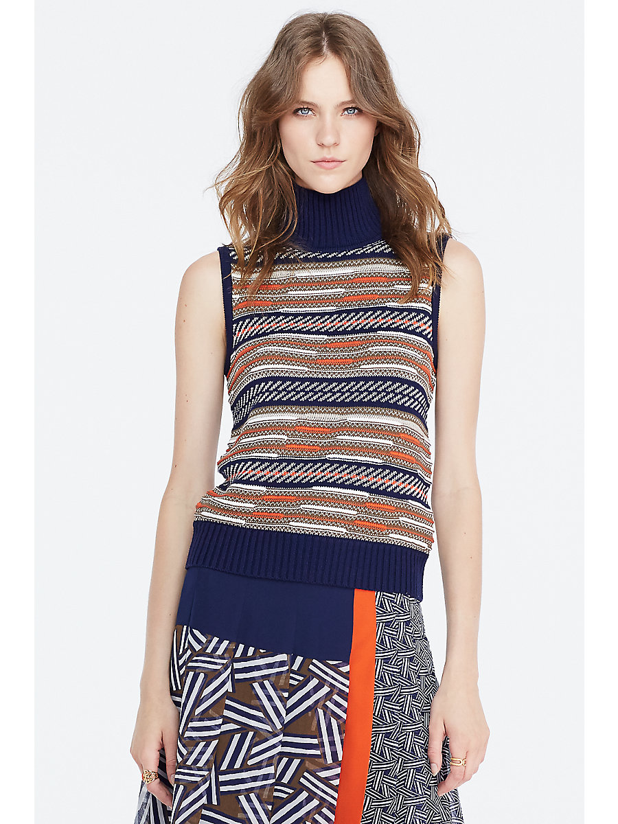 DVF Carsyn Mixed Knit Sleeveless Top in Midnight/ Orange Combo by DVF