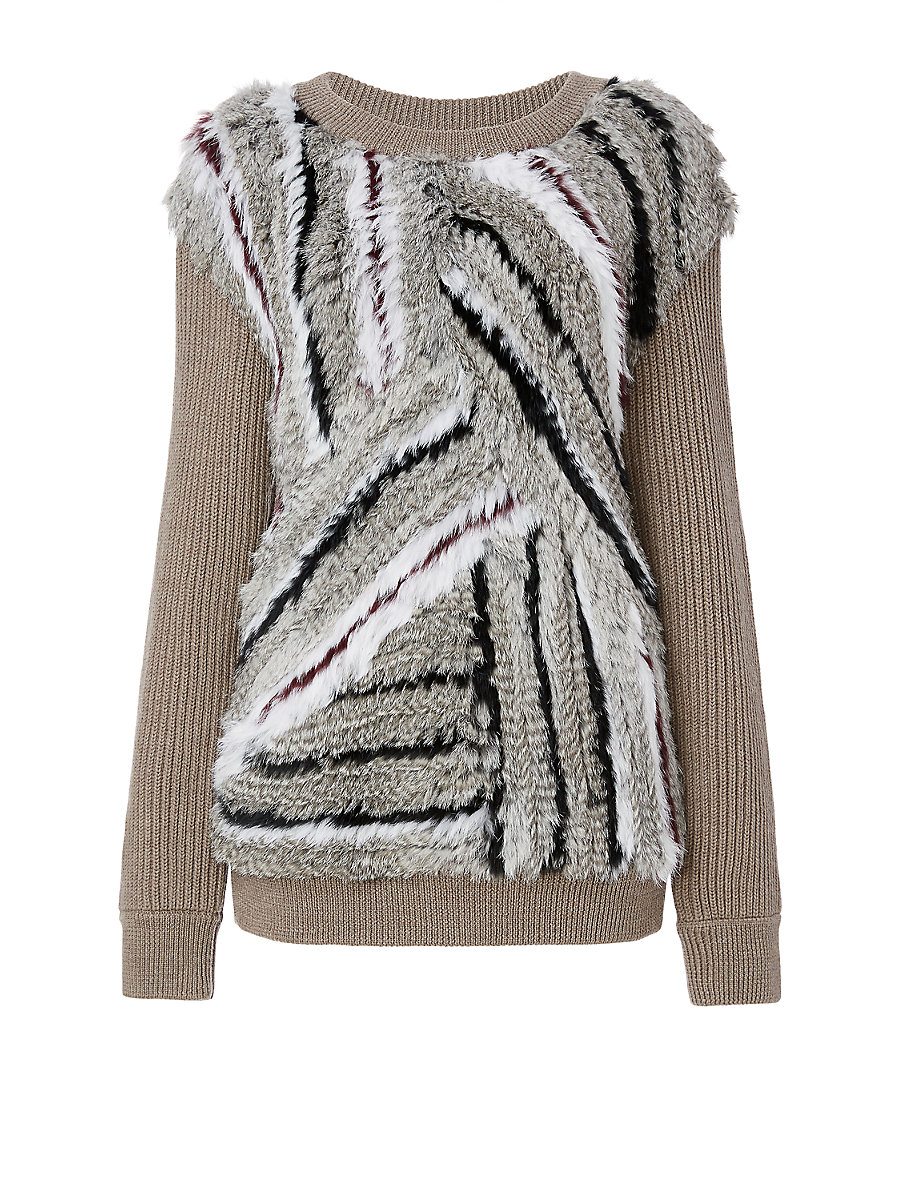 DVF Jamesyn Knitted Fur Sweatshirt in Tan by DVF