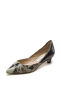 in Natural Roccia Snake Print Black Patent