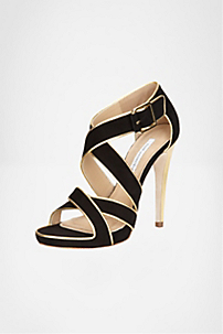 in Black Suede/ Gold Metallic Nappa Trim