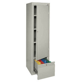 Four Shelf Slim Storage Cabinet with File Drawer, B34702