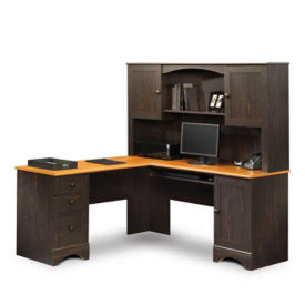 Harbor View Antique Right Return L-Desk with Hutch, D35173