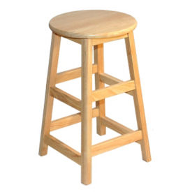 "Solid Hardwood Stool  - 24""H, K00035"