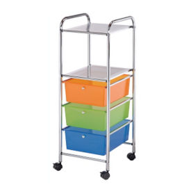 Multicolor Mobile Storage Cart 3 Drawer, 2 Shelf, B34270