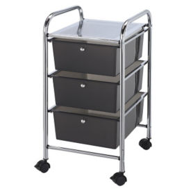 Smoke Gray Mobile Storage Cart 3 Drawer, B30489
