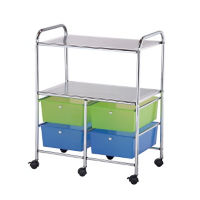 Multicolor Mobile Storage Cart 4 Drawer, 2 Shelf, B34271