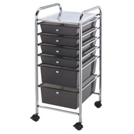 Smoke Gray Mobile Storage Cart 6 Drawer, B30490