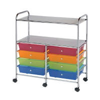 Multicolor Mobile Storage Cart 8 Drawer, 2 Shelf, B34274