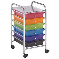 Six Drawer Multi Colored Plastic Storage Cart, V21873