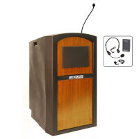 Wireless Polyethylene Lectern with Headset and Lapel Mic, M13173