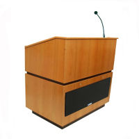 Solid Wood Wireless Mic Lectern with Oak Finish, M13181