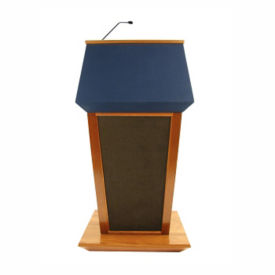 Wood and Fabric Wireless Mic Lectern in Oak Finish, M13193