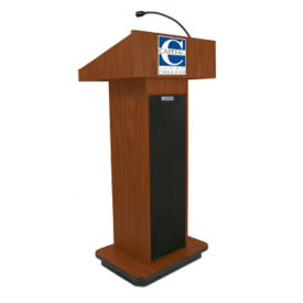 "Single Column Customizable Logo Lectern with Sound - 47""H, M16323"