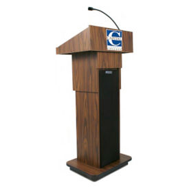 "Adjustable Height Customizable Logo Lectern with Sound - 39-47""H, M16324"