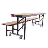 Convertible Table Bench with Dynarock Edging and Chrome Legs - 7'W, T11533