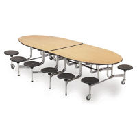 Mobile Chrome Frame Cafeteria Table with 12 Stools - 12'W, T11553