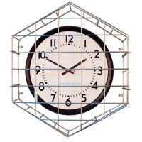 "Steel Caged Wall Clock with Battery Booster - 15"", V22067"