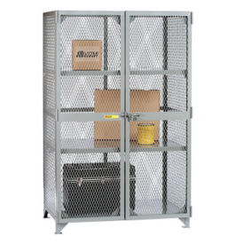 "Metal Mesh Two Shelf Storage Locker - 60""W x 36""D x 72""H, B30296"