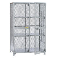 "Metal Mesh Two Adjustable Shelves Storage Locker - 60""W x 30""D x 72""H, B30301"