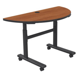 Height Adjustable Sit or Stand Mobile Flipper Half Round Table, A11140-1
