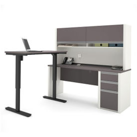 "L-Desk with Reversible Adjustable Height Return and Hutch - 71.125""W, D35716"