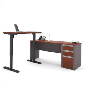"L-Desk with Reversible Adjustable Height Return - 71.125""W, D35713"