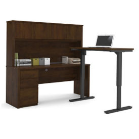 "L-Desk with Reversible Adjustable Height Return and Hutch - 71.125""W, D35715"