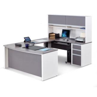 Executive U-Desk with Adjustable Height Bridge, D37517