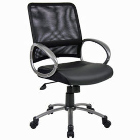 Bonded Leather Seat Mesh Back Computer Chair, C80374