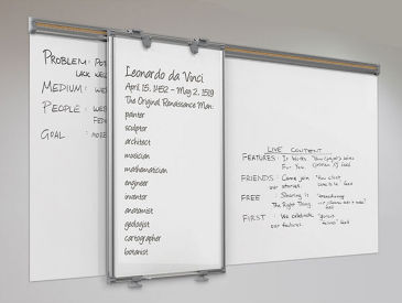 "Track-Slide Whiteboard – 6'W x 44""H, B23369"