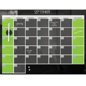 "Monthly Glass Calendar Board 36"" x 24"" , B23466"