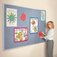 Vinyl Bulletin Board with Aluminum Frame 12'Wx4'H, B20960