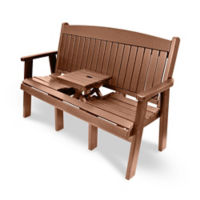 "Outdoor Bench with Drop Center Table - 60""W, F10417"