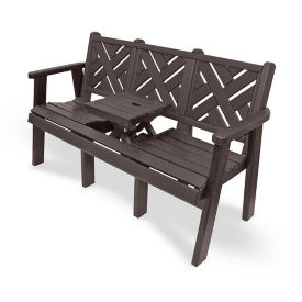 "Outdoor Bench with Drop Center Table - 60""W, F10420"