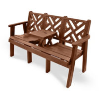 "Outdoor Bench with Drop Center Table - 60""W, F10421"