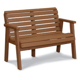 "Recycled Plastic Garden Bench with Arms - 72""W, F10786"