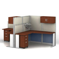 Two Person Workstation with Panels and Storage, D35158