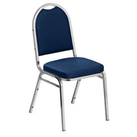 "Round-Back Stack Chair with 2""  Fabric Seat, C67788"
