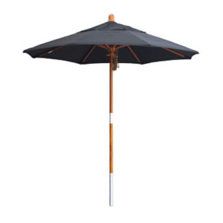 Sunbrella 7.5'W Pulley Lift Umbrella with Wood Pole, F10319